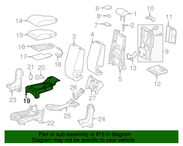 TOYOTA 78809-0C010 Center Sub Seat Bracket Support Assembly