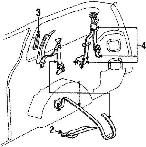 Rear Seat Belts For 1998 Dodge Grand Caravan