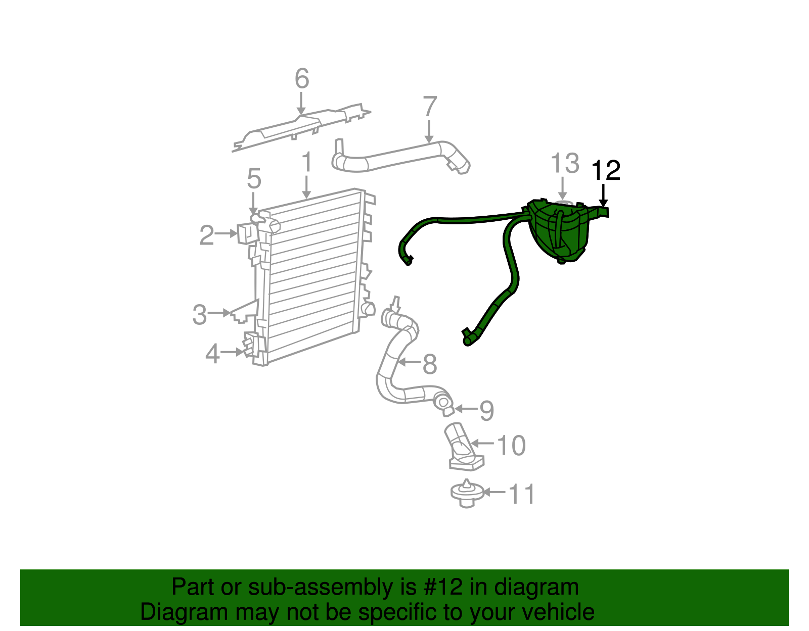 Engine Coolant Recovery Tank Mopar 55056542ae Fits 07 11 Jeep Wrangler Radiator Overflow Stock Photo