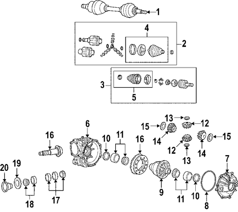 differential parts for 2005 cadillac srx