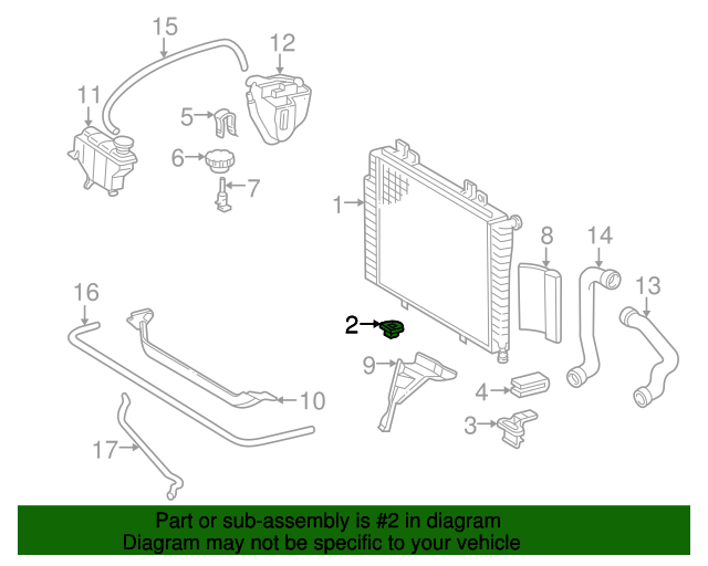 Radiator lower insulator mercedes benz 140 504 02 12 for Mercedes benz part numbers list