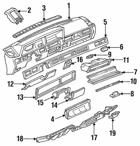 body/instrument panel for 1986 oldsmobile cutlass ciera