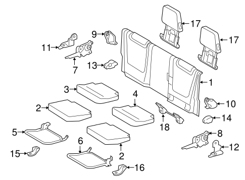 Rear Seat Components For 2016 Toyota Tacoma