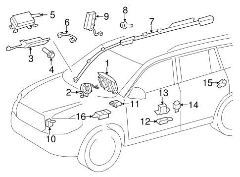 Air Bag Components for 2005 Toyota Highlander #6