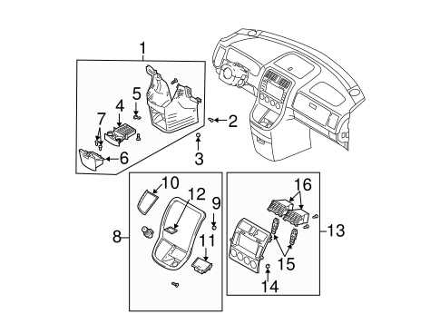 Instrument Panel Components For 2004 Kia Sedona