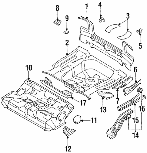 Genuine OEM Rear Parts for 1990 Toyota Corolla DLX All Trac ...