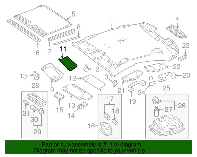 Sun visor cover mercedes benz 212 810 44 10 7e94 for Mercedes benz part numbers list