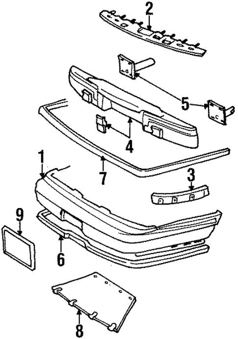 bumper components rear for 1997 lincoln town car. Black Bedroom Furniture Sets. Home Design Ideas