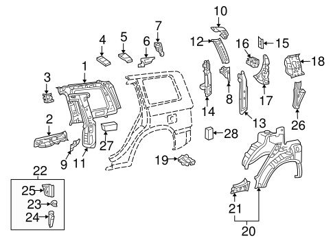 Inner Structure for 2005 Toyota Highlander #0