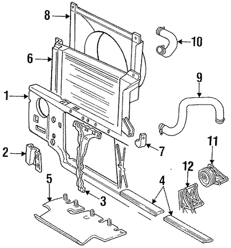 radiator support for 1995 ford f