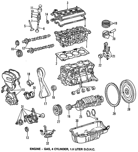 ENGINE/ENGINE PARTS for 1996 Toyota Tercel #1