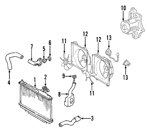 genuine oem cooling system parts for 2003 toyota rav4 base ... 2003 toyota rav4 engine diagram #6
