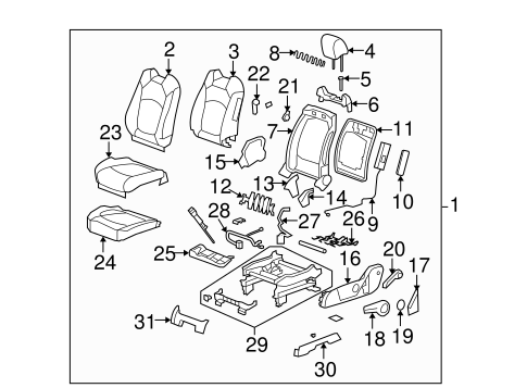 oem 2008 saturn outlook driver seat ponents parts gmpartsonline net Saturn Outlook Interior body driver seat ponents for 2008 saturn outlook 1
