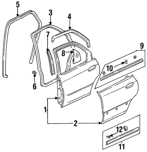 Molding Assembly, L Rear Door