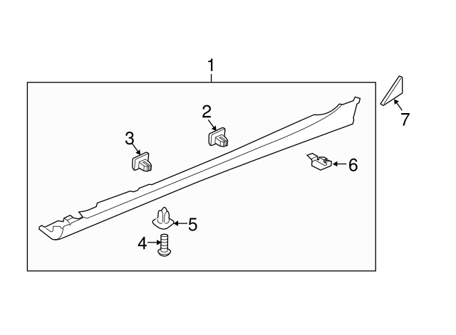 Left Genuine Hyundai 87751-3S000 Side Sill Molding Assembly