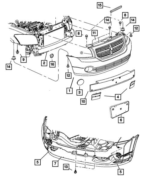 dodge parts diagram front bumper and fascia for 2008 dodge caliber thomas dodge parts  front bumper and fascia for 2008 dodge