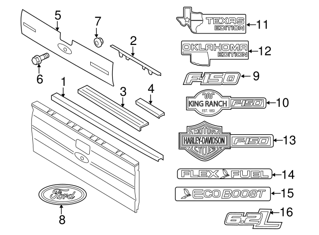 tailgate step moulding f 150 Ford F-150 Parts Diagram Door