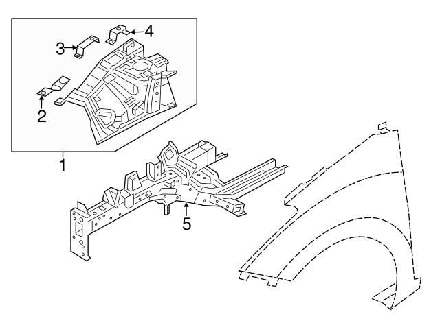 Genuine Hyundai 64510-A5000 Fender Apron Panel Assembly