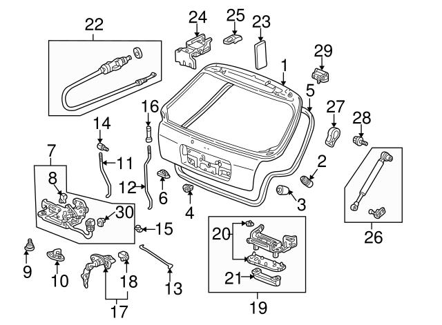Honda Genuine 74801-S03-003 Tailgate Lock