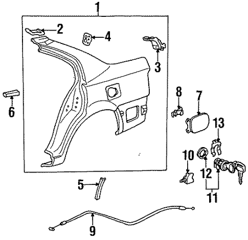 BODY/QUARTER PANEL & COMPONENTS for 1996 Toyota Tercel #2