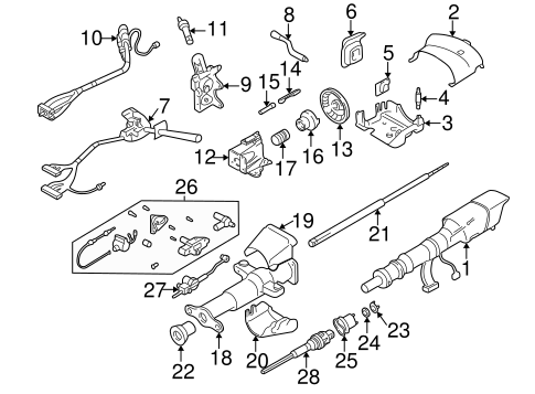 OEM 1996 Chevrolet S10 Steering Column Assembly Parts ...