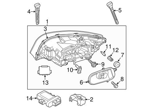 Headlamp Components for 2013 Volvo S60 #1