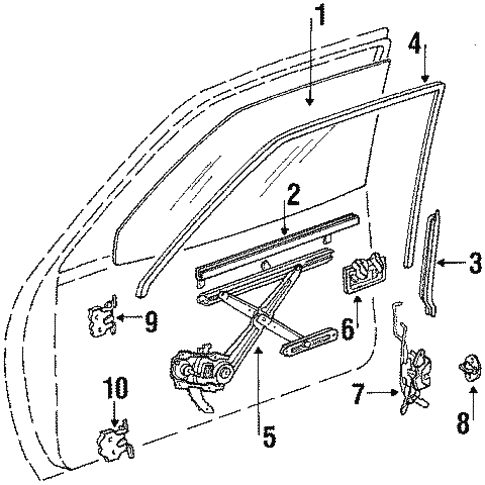 Body/Glass - Front Door for 1990 Toyota Tercel #1