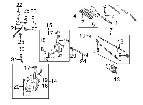Wiper Washer Components For 2002 Mazda Protege5