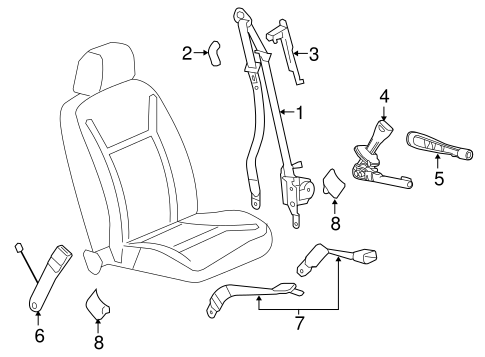 Front Seat Belts For 2007 Chevrolet Impala