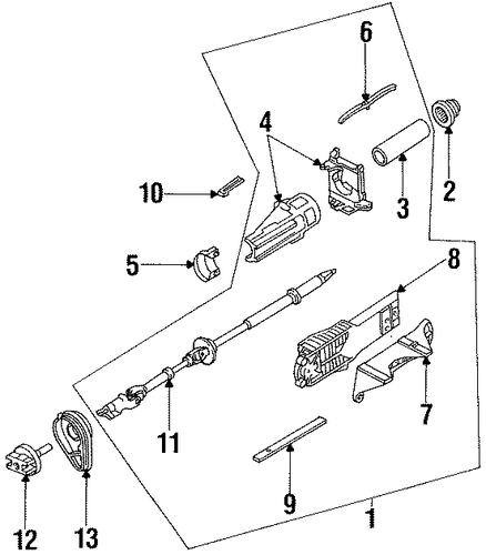 Steering/Steering Column Components for 1997 Ford Contour #1