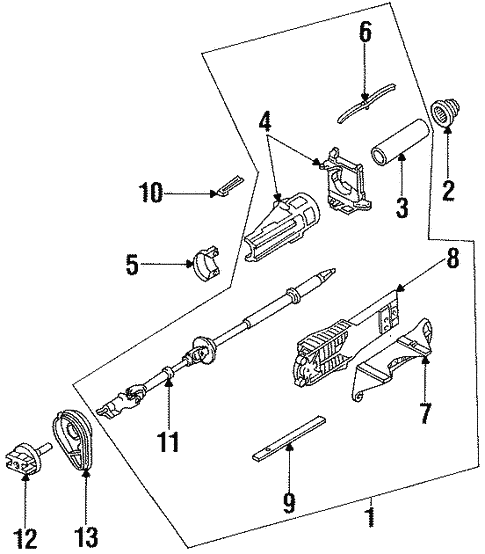 Steering Column Components for 1996 Ford Contour #0