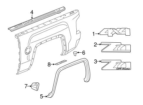 oem 2016 gmc sierra 2500 hd exterior trim pick up box parts. Black Bedroom Furniture Sets. Home Design Ideas