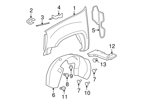 fender liner clip gm 11589296 gmpartsnow. Black Bedroom Furniture Sets. Home Design Ideas