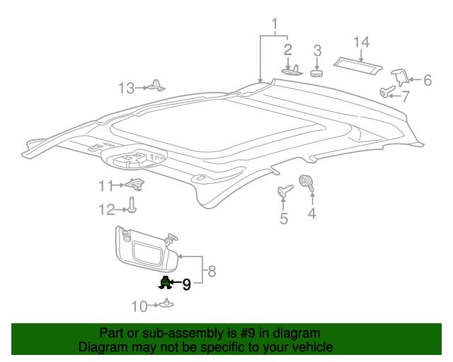 sun visor retainer genuine ford ds7z 9904132 a autonation ford white bear lake parts. Black Bedroom Furniture Sets. Home Design Ideas