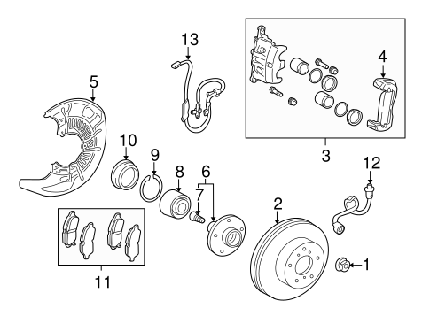 Brake Components for 2013 Toyota Sienna #1