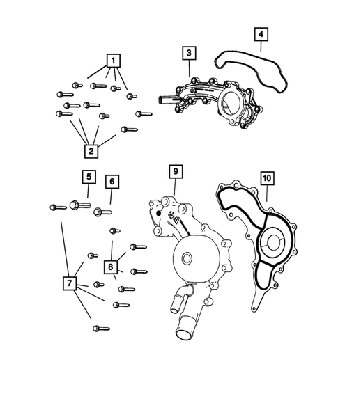 Water Pump and Related Parts for 2018 Jeep Grand Cherokee #1