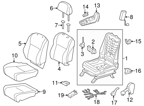 BODY/PASSENGER SEAT COMPONENTS for 2012 Toyota Highlander #2